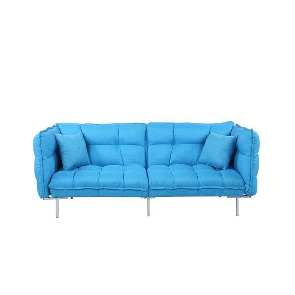 Modern Plush Tufted Linen Splitback Living Room Sleeper Sofa by Madison Home USA