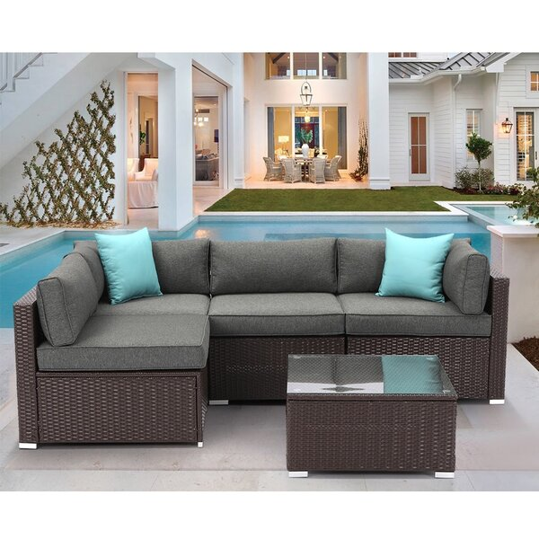Ahull 5 Piece Rattan Sectional Seating Group with Cushions
