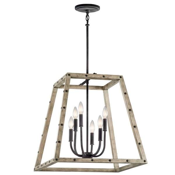 Grindle 6 - Light Lantern Rectangle Chandelier by Union Rustic Union Rustic