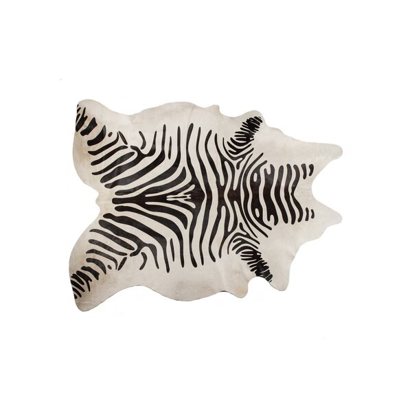 Grady Hand-Woven Cowhide Black/White Area Rug by Bloomsbury Market