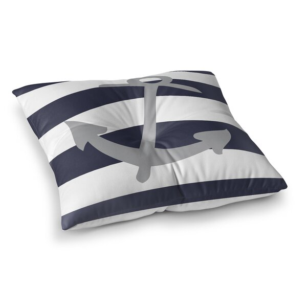 Terry Striped Anchor Outdoor Floor Pillow by Longshore Tides