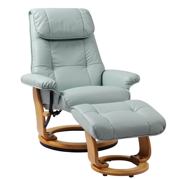 Beaucet Leather Manual Swivel Recliner With Ottoman