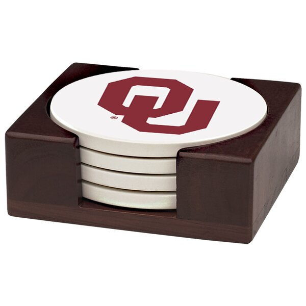 5 Piece University of Oklahoma Wood Collegiate Coaster Gift Set by Thirstystone