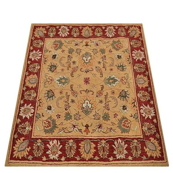 Kyle Oriental Hand-Tufted Wool Gold/Red Area Rug by World Menagerie