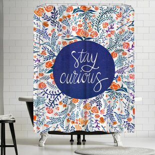 Stay Curious Red Navy Shower Curtain ByEast Urban Home