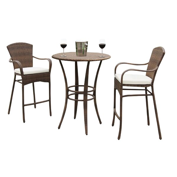 Key Biscayne 3 Piece Bar Height Dining Set with Cu