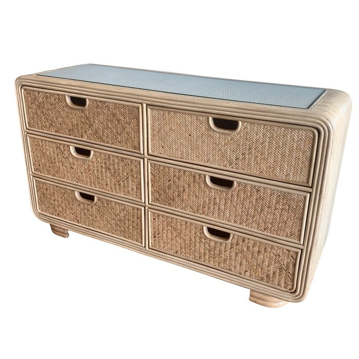 Armory Rattan 6 Drawer Double Dresser