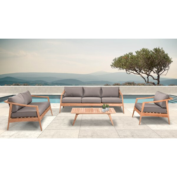 Hogue 4 Piece Teak Sofa Seating Group with Sunbrella Cushions by Rosecliff Heights
