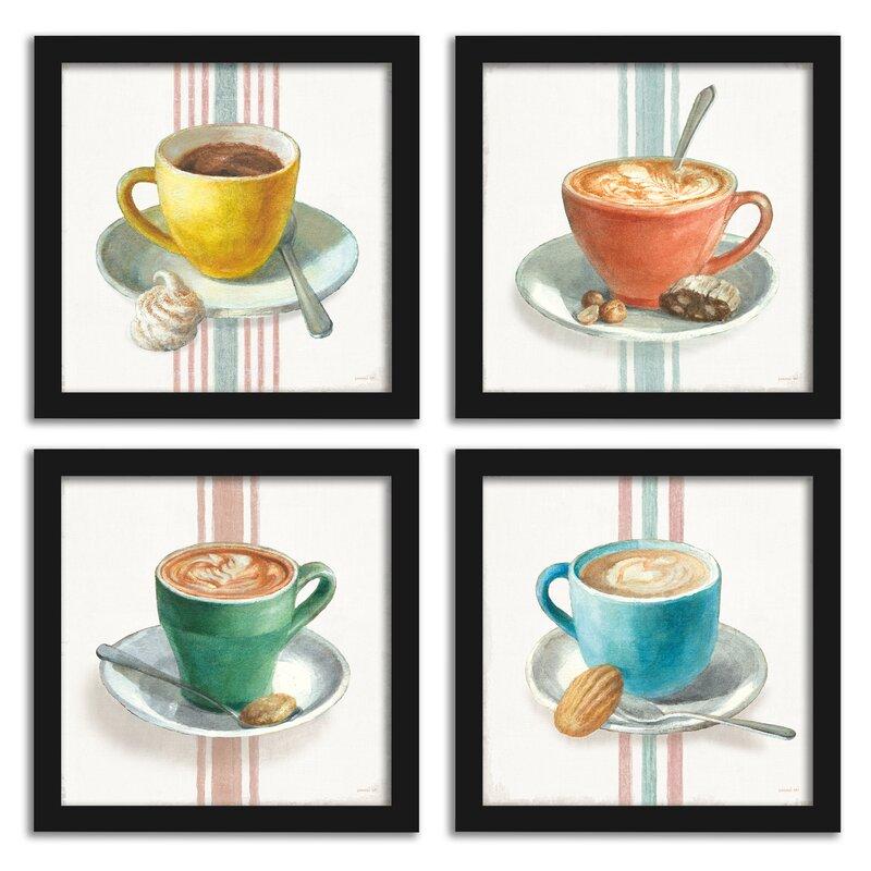 Wake Me up Coffee - 4 Piece Painting Print Set on Canvas - Coffee Wall Decor