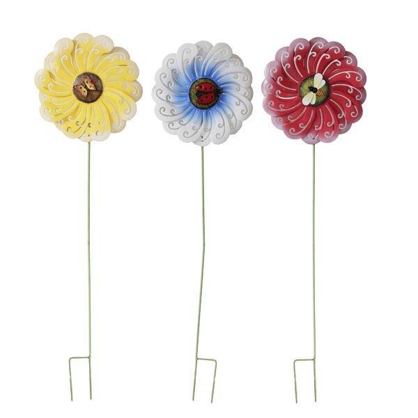 3 Piece Flower Garden Stake Set by Attraction Design Home
