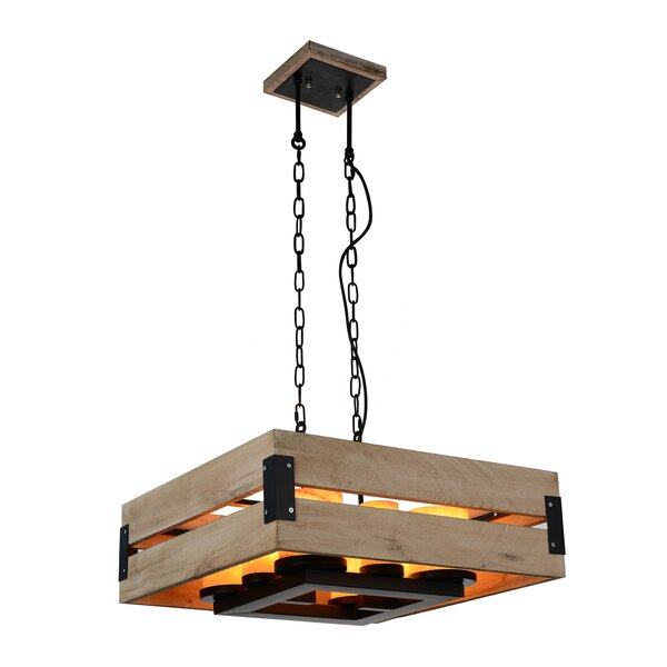 Turcios 8-Light Shaded Square / Rectangle Chandelier With Wood Accents By Gracie Oaks