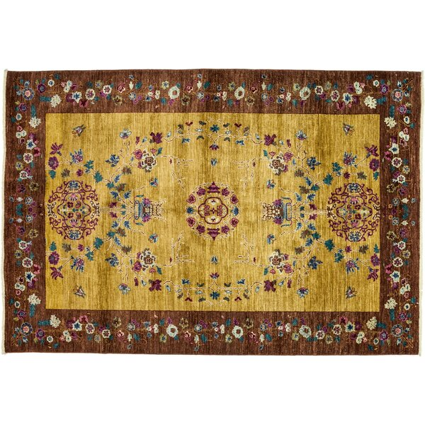 One-of-a-Kind Eclectic Hand-Knotted Yellow/Brown Area Rug by Darya Rugs