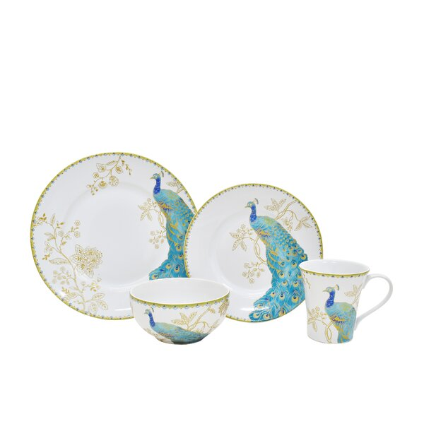 Peacock Garden 16 Piece Dinnerware Set, Service for 4 by 222 Fifth