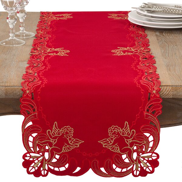 Embroidered Angel Cherub Holiday Table Runner by The Holiday Aisle