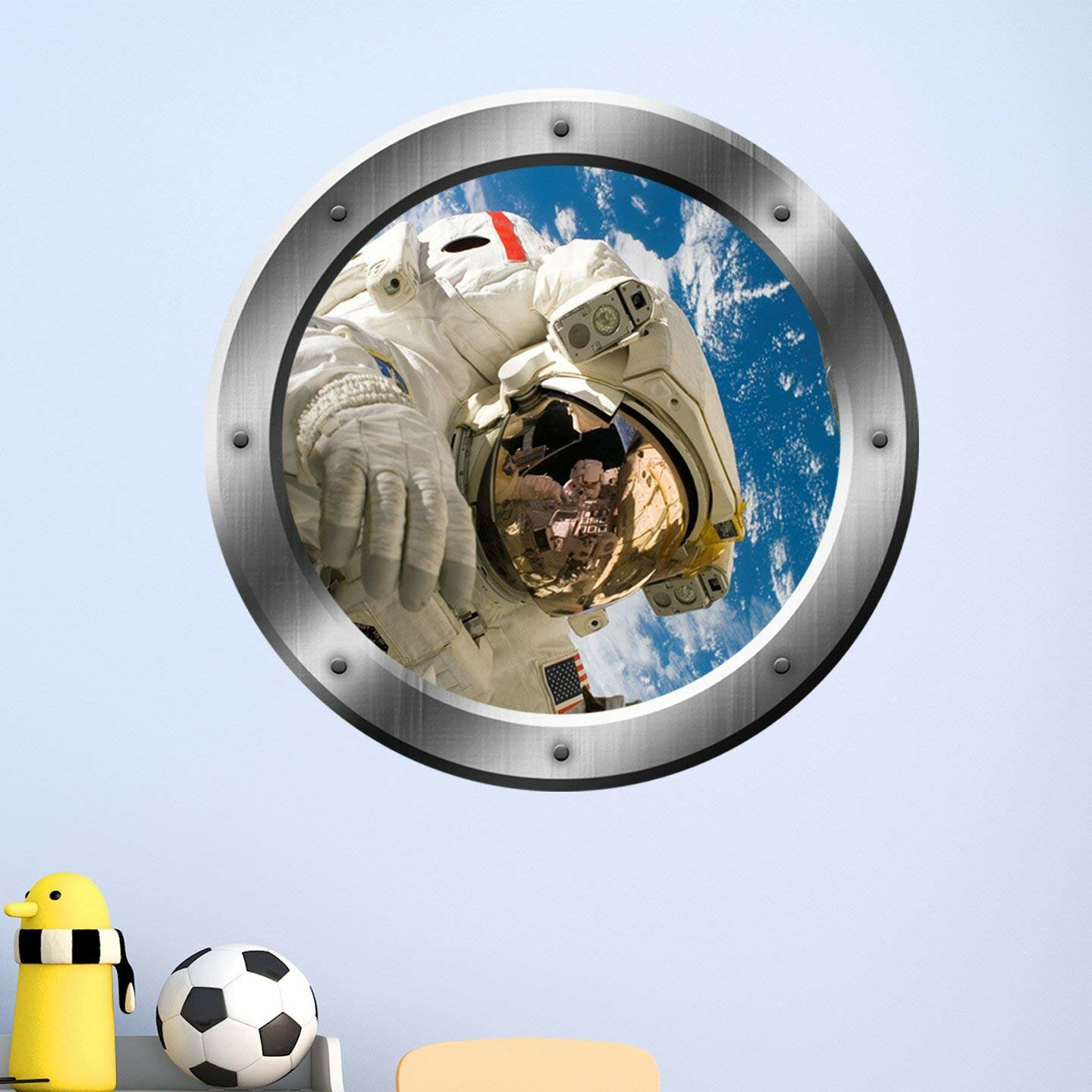 DEEP SPACE SPACESHIP PORTHOLE Full Colour Wall Sticker Decal Transfer Mural 2