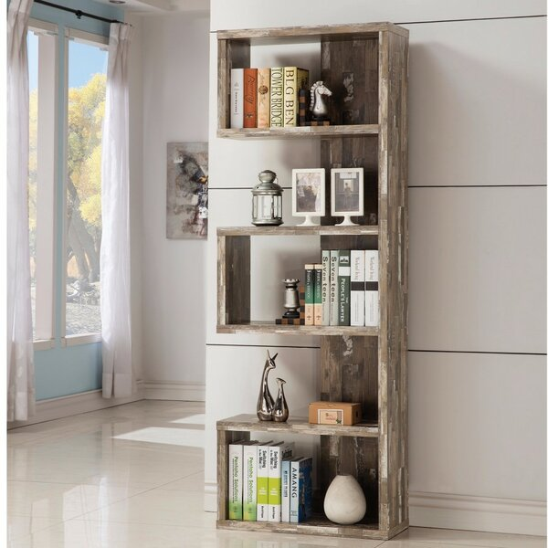 Pascarella Distressed Wooden Open Corner Unit Bookcase by Union Rustic