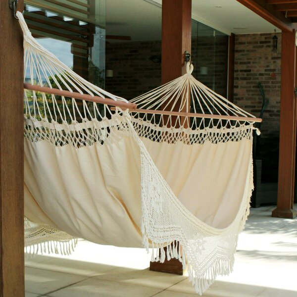 Tarun Portable Tropical Nature Outdoors or Backyard Hand Woven Brazilian Cotton Tree Hammock by World Menagerie World Menagerie
