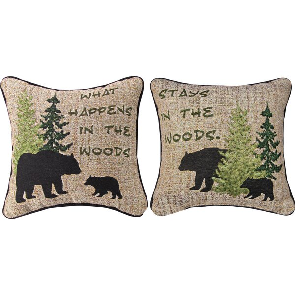 What Happens in the Woods Throw Pillow by Manual Woodworkers & Weavers