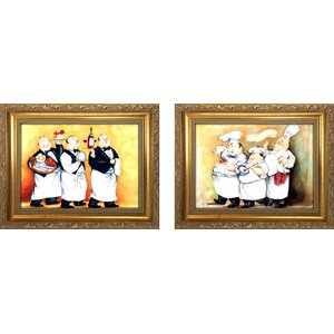 'Haute Cuisine II' 2 Piece Framed Oil Painting Print Set by Fleur De Lis Living