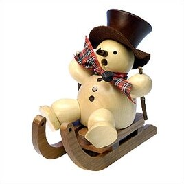 Natural Wood Finish Snowman on Sled Incense Burner by Christian Ulbricht