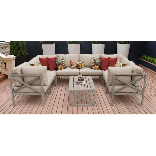 Carlisle 9 Piece Outdoor Sectional Set with Cushions by TK Classics