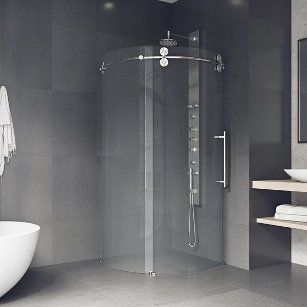 Shower 38 x 74.63 Round Sliding Shower enclosure by VIGO