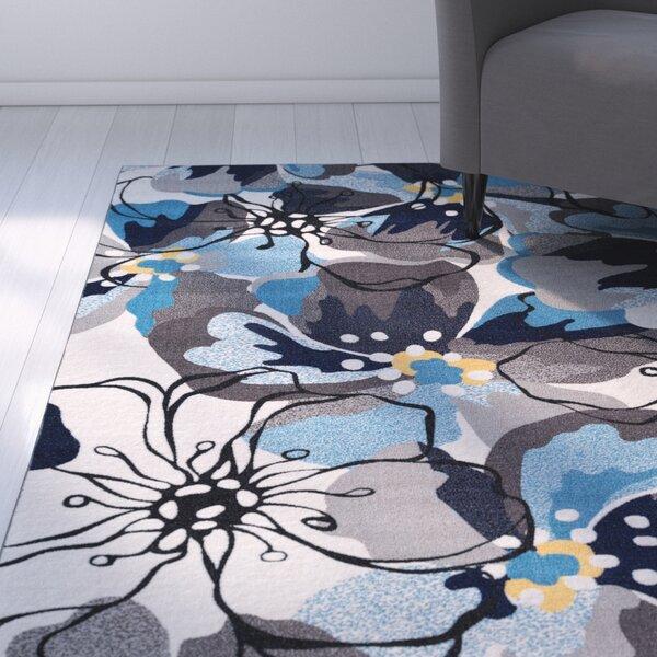 Princess Floral Gray/Blue Area Rug by Zipcode Design