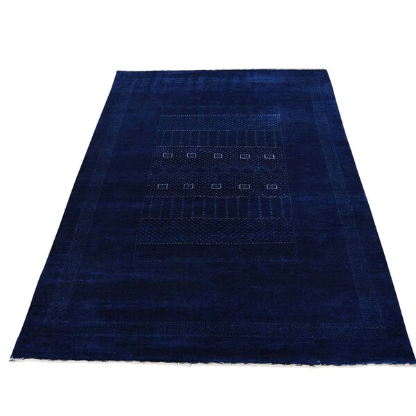 One-of-a-Kind Bagwell Hand-Knotted Navy Blue Area Rug by Isabelline