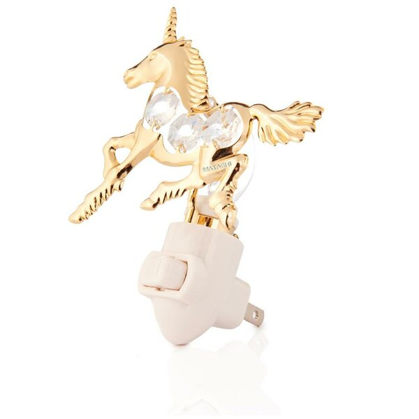 24K Gold Plated Unicorn Night Light by Matashi Crystal