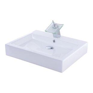 Ceramic Rectangular Vessel Bathroom Sink with Faucet Novatto