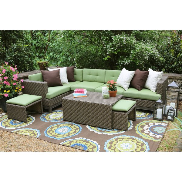 Hampton 8 Piece Rattan Sunbrella Sectional Seating Group with Cushions by AE Outdoor
