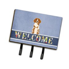 Brittany Spaniel Welcome Leash or Key Holder by Caroline's Treasures