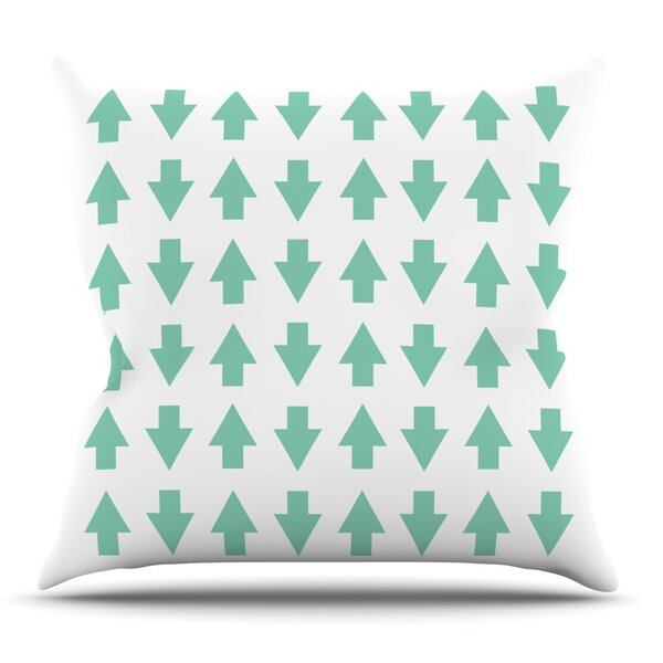 Arrows Up and Down Mint by Project M Outdoor Throw Pillow by East Urban Home
