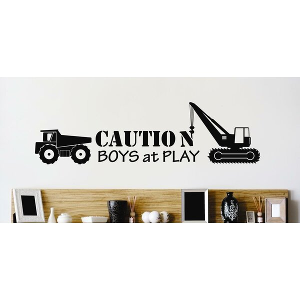 Caution Boys At Play Heavy Duty Dump Truck Wall Decal by Design With Vinyl