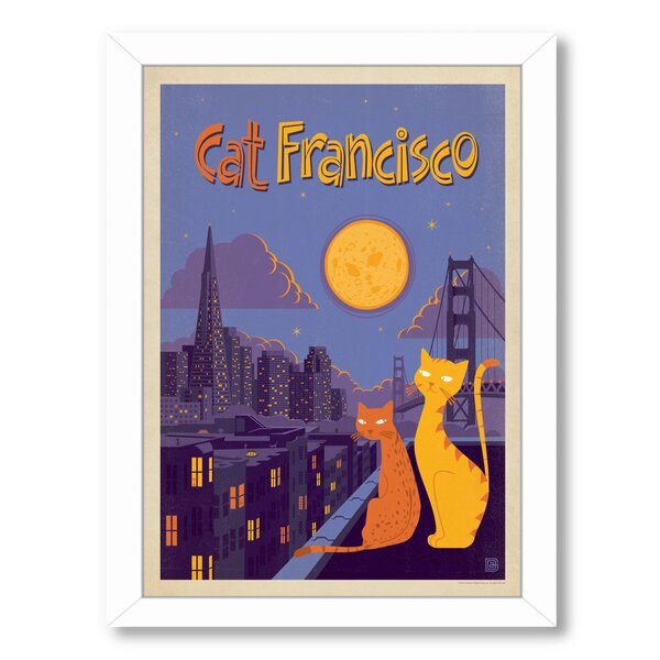 Cat  Francisco Framed Vintage Advertisement by East Urban Home