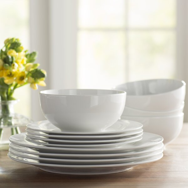 Wayfair Basics 12 Piece Porcelain Dinnerware Set, Service for 4 by Wayfair Basics™