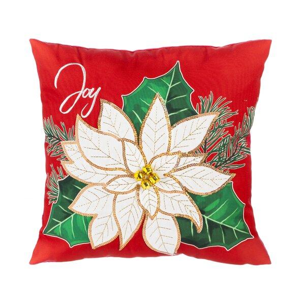 Joanna Joy Poinsetta Throw Pillow by The Holiday Aisle