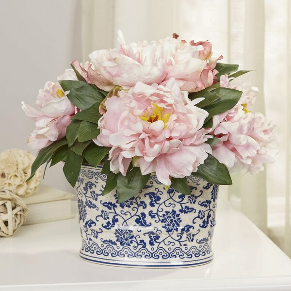 Pink Peony Cluster Centerpiece in Chinoiserie Planter by Birch Lane™