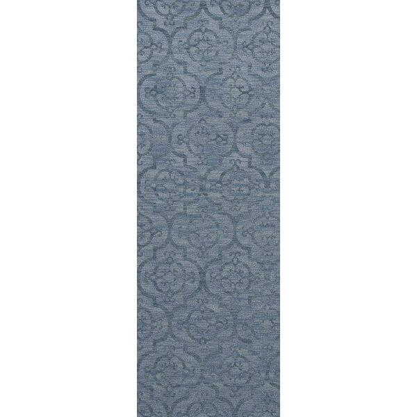 Garney Machine Woven Wool Blue Area Rug