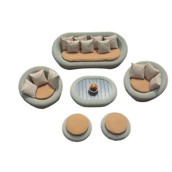 Golden 6 Piece Sofa Set With Cushions by Bungalow Rose