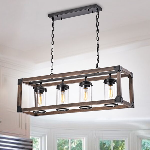 Ellenton 4 - Light Shaded Rectangle Chandelier with Wrought Iron Accents by Three Posts Three Posts