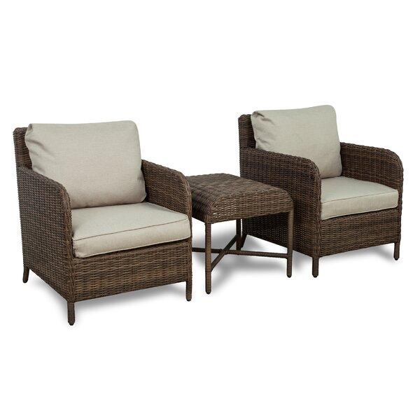 Bavis 3 Piece Rattan Conversation Set with Cushions by Gracie Oaks