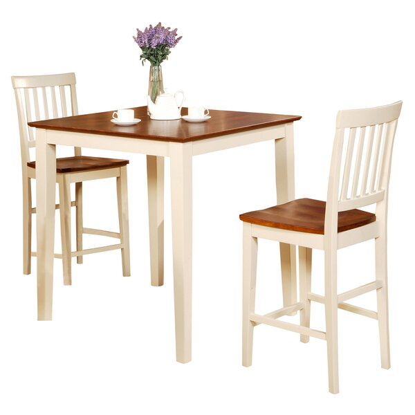 Givens 3 Piece Counter Height Wood Bistro Set by Three Posts