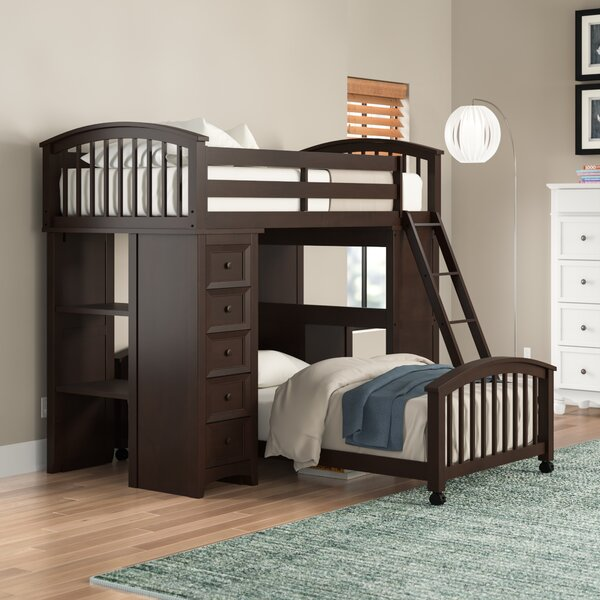 Nickelsville Twin Loft Bed with Drawers and Shelves by Three Posts Baby & Kids