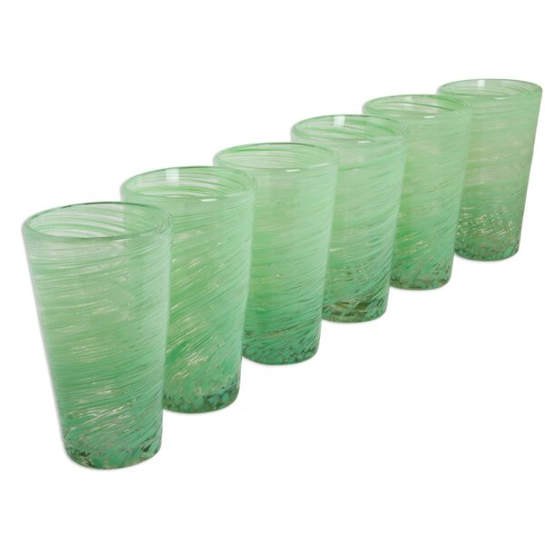 Green Centrifuge 13 oz. Highball Glass (Set of 6) by Novica