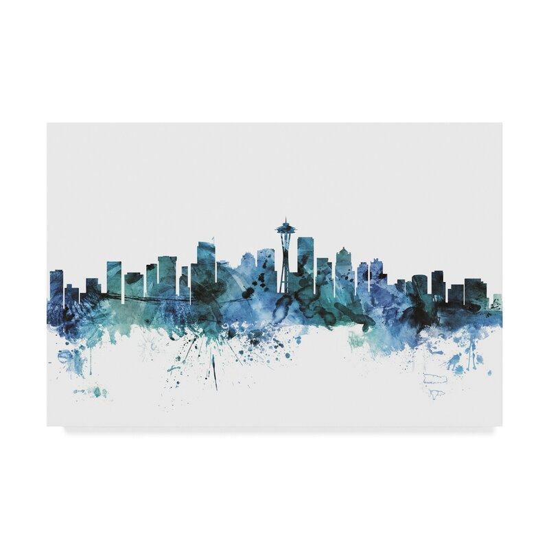 Wrought Studio Seattle Washington Blue Teal Skyline Graphic Art Print On Wrapped Canvas Reviews Wayfair