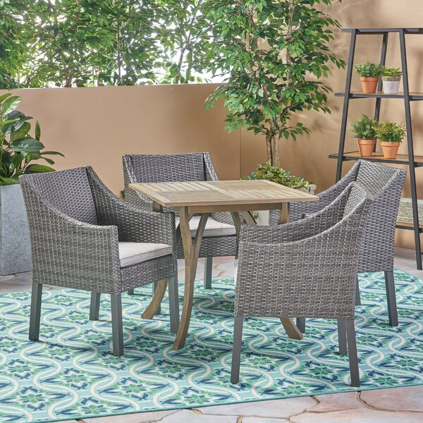 Slagelse Outdoor 5 Piece Dining Set with Cushions by Bungalow Rose