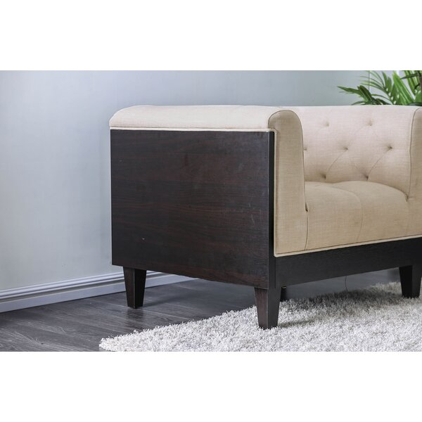 Flower Button-Tufted Fabric Wooden Armchair by Bay Isle Home