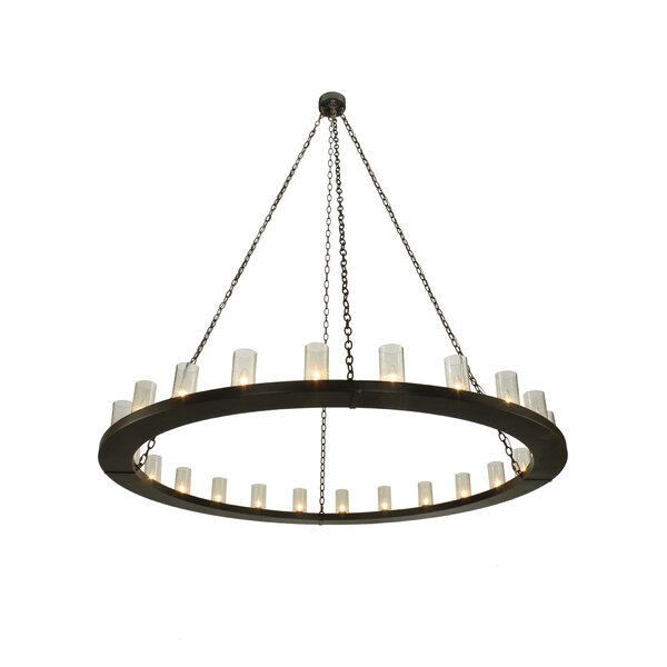 Newsome 24 - Light Shaded Wagon Wheel Chandelier By Longshore Tides