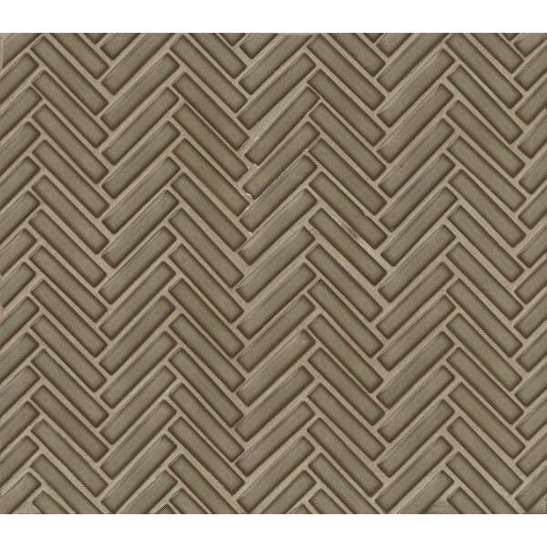 Herringbone Mosaic 11 x 12.25 Porcelain Tile in Gray by Grayson Martin